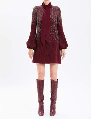 J. Mendel Burgundy Long Sleeve Embroidered Cocktail Dress