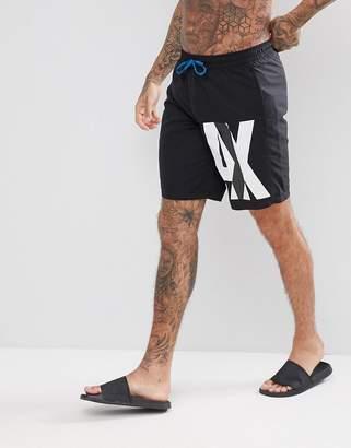 Armani Exchange Side Logo Swim Shorts In Black