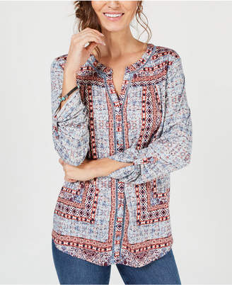 Style&Co. Style & Co Printed Button-Front Shirt