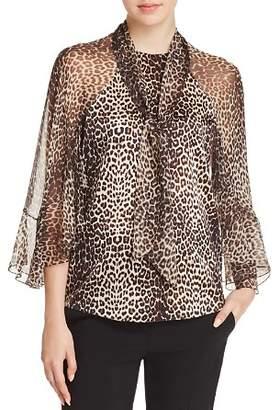 Elie Tahari Matilda Silk Leopard-Print Blouse