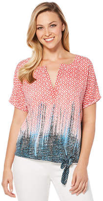 Rafaella Short Sleeve V Neck Woven Blouse