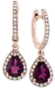 Effy Rhodolite Garnet (1-1/2 ct. t.w.) & Diamond (1/4 ct. t.w.) Drop Earrings in 14k Rose Gold