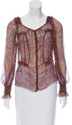 Blumarine Silk Ruffle-Trimmed Top