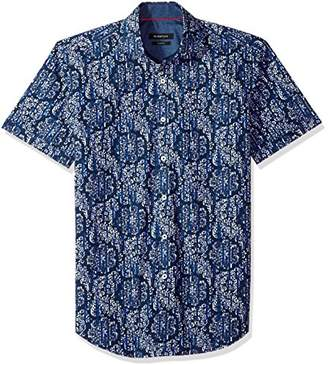 Bugatchi Men's Fitted Printed Spread Collar Short Sleeve Shirt