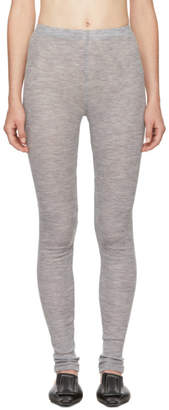 LAUREN MANOOGIAN Grey Merino Fine Rib Leggings