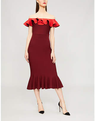 Alexander McQueen Off-the-shoulder flared knitted dress