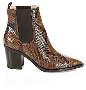 Gianvito Rossi Women's Romney Point-Toe Python Chelsea Boots