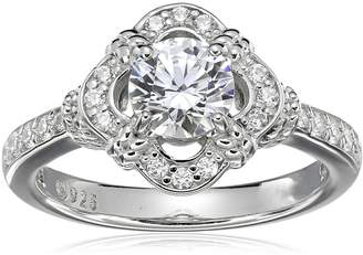 Swarovski Amazon Collection Sterling Silver Zirconia Antique Frame Halo Ring (1 cttw), Size 6