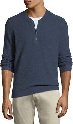 Neiman Marcus Men's Crewneck Speckled Cashmere Henley Sweater