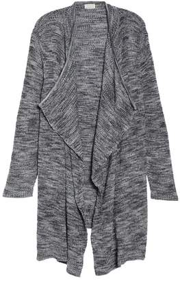 Caslon Drape Front Long Cardigan (Plus Size)