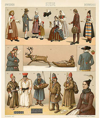 One Kings Lane Vintage Swedish Ceremonial Costumes Print - 1888 - Prints with a Past