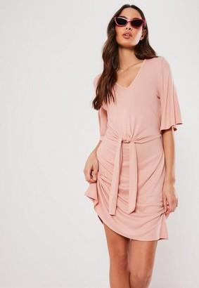 Missguided Rose Rib Tie Waist Shift Dress