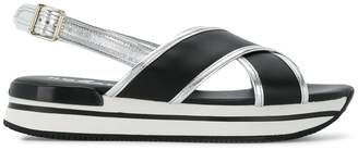 Hogan crossover flatform sandals