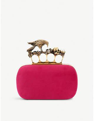 Alexander McQueen Peonie Pink Floral Raven Suede Knuckle Clutch Bag