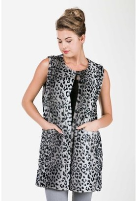MELODY Women's Round Neck Faux Fur Long Open Vest with Pocket on the Front (BLACK LEOPARD, SMALL/MEDIUM)