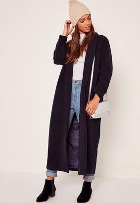 Shawl Collar Faux Wool Maxi Coat Navy $132 thestylecure.com