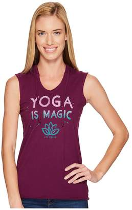 Life is Good Yoga Magic Hoodie Smooth Tee Women's Sleeveless