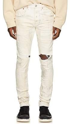 Purple Men's Distressed Metallic Skinny Jeans - White