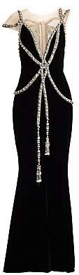 Marchesa Women's Embellished Illusion Velvet Gown