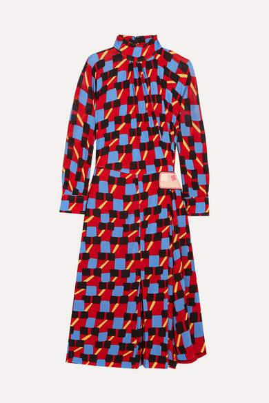 Prada - Gathered Printed Georgette Dress