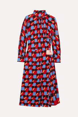 Prada Gathered Printed Georgette Dress