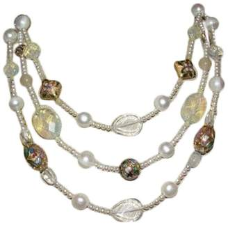 Miriam Haskell Brass Triple Strand Faux Pearl, Cloisonne,Opalite,Glass Bead Necklace