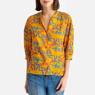 Harris Wilson Clothilde Floral Print Grandad Collar Cotton Blouse