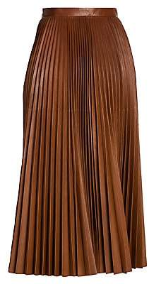 bd08a6ad78 Prada Women's Pleated Leather Flare Skirt