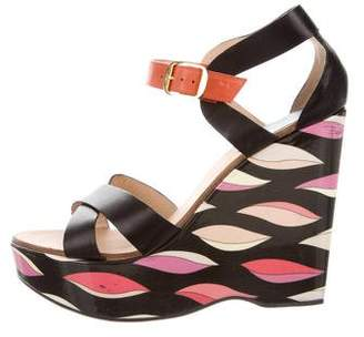 Emilio Pucci Leather Colorblock Wedges