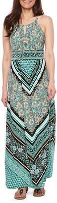 London Times Sleeveless Pattern Maxi Dress-Petite