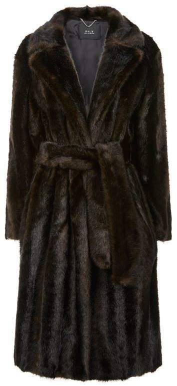 Faux Fur Wrap Coat