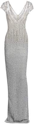 Pamella Roland Ombre Sequin & Crystal Plunging Column Dress