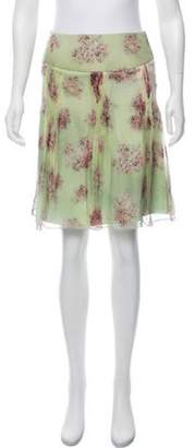 Valentino Floral Knee-Length Skirt Green Floral Knee-Length Skirt