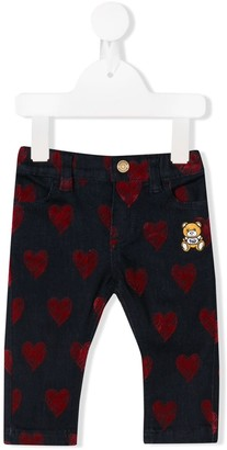 Moschino Kids scribbled heart jeans