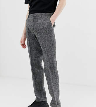 Noak slim fit harris tweed suit pants in grey