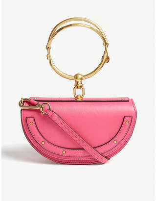 Chloé Ladies Fushia Rose Pink Elegant Nile Minaudière Leather Purse