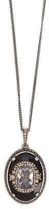 Alexander McQueen Crystal Pendant Necklace - Womens - Black