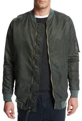 Vince Elongated Aviator Jacket, Green/Orange