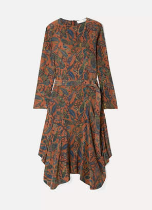 Chloé Asymmetric Paisley-print Silk Crepe De Chine Midi Dress