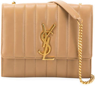 Saint Laurent Vicky Monogram North/South Quilted Leather Wallet on Chain