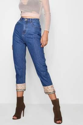 boohoo Tapestry Hem Straight Leg Jeans