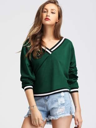 Shein Contrast Striped Trim V-Neck Sweatshirt