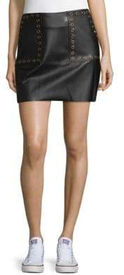 Supply & Demand Grommet Faux Leather Mini Skirt