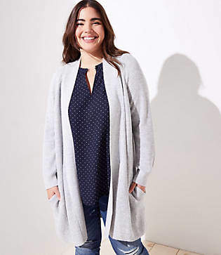LOFT Plus Ribbed Pocket Open Cardigan