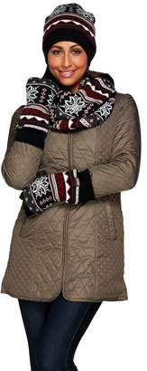 Muk Luks Women's Reversible Hat, Glove, Scarf Gift Set