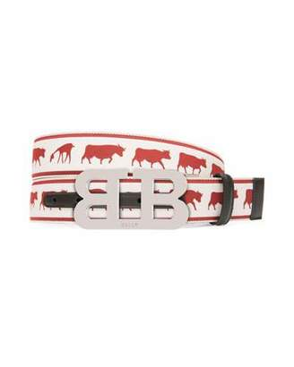 Bally Men's Mirror B Reversible Web-Leather Belt with Barnyard Animals