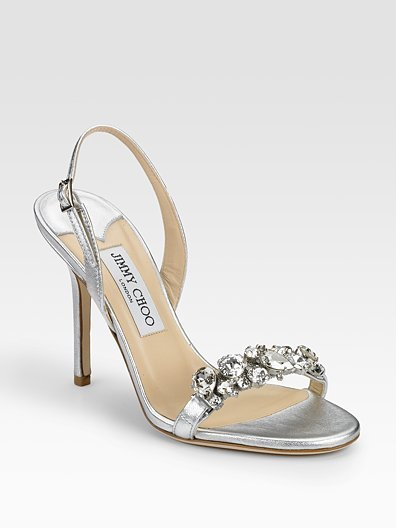 Jimmy Choo Lotus Metallic Leather Crystal-Detail Sandals
