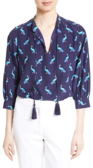 Women's Kate Spade New York Peacock Silk Swing Top