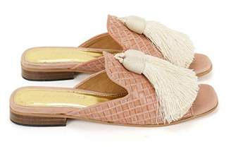 Anna Ricci Woven Leather Open Toe with Tassels - Off White