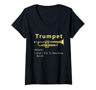 Womens Funny Trumpet Gods Gift To Marching Band V-Neck T-Shirt